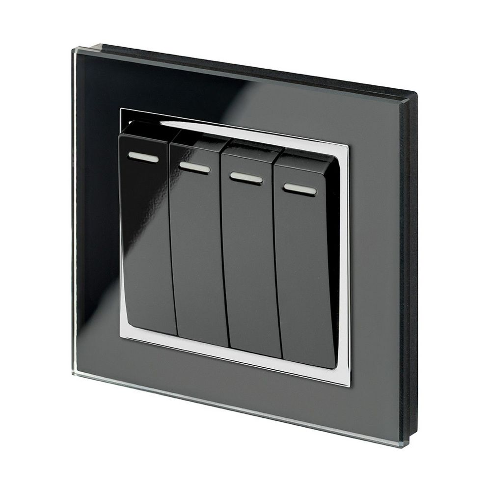 RetroTouch 4 Gang 1 or 2 Way 10A Rocker Light Switch Black Glass CT 00261